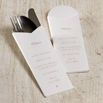 Bestekpochette wit met eigen tekst | Tadaaz  #communie #lentefeest #menu #bestekhouder #wit