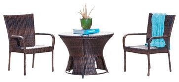 Alexandria Brown Wicker 3-Piece Outdoor Bistro Set - contemporary - Outdoor Tables - Great Deal Furniture
