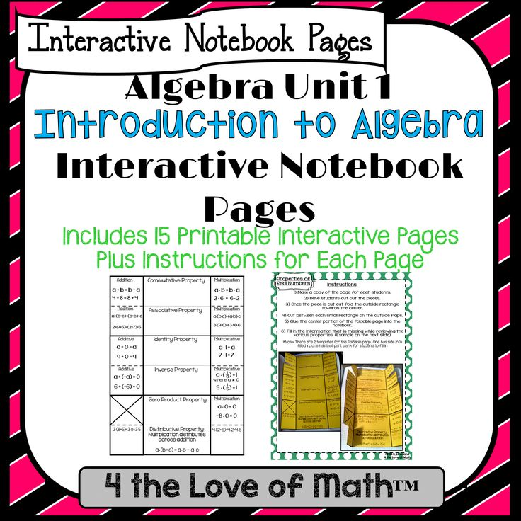 Intro To Algebra Interactive Notebook Pages: Unit 1   15 pages in all!