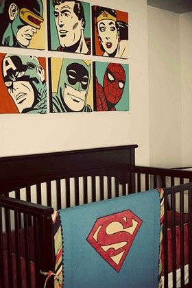 vintage comic book nursery superhero pop art wall gallery. Boys room.