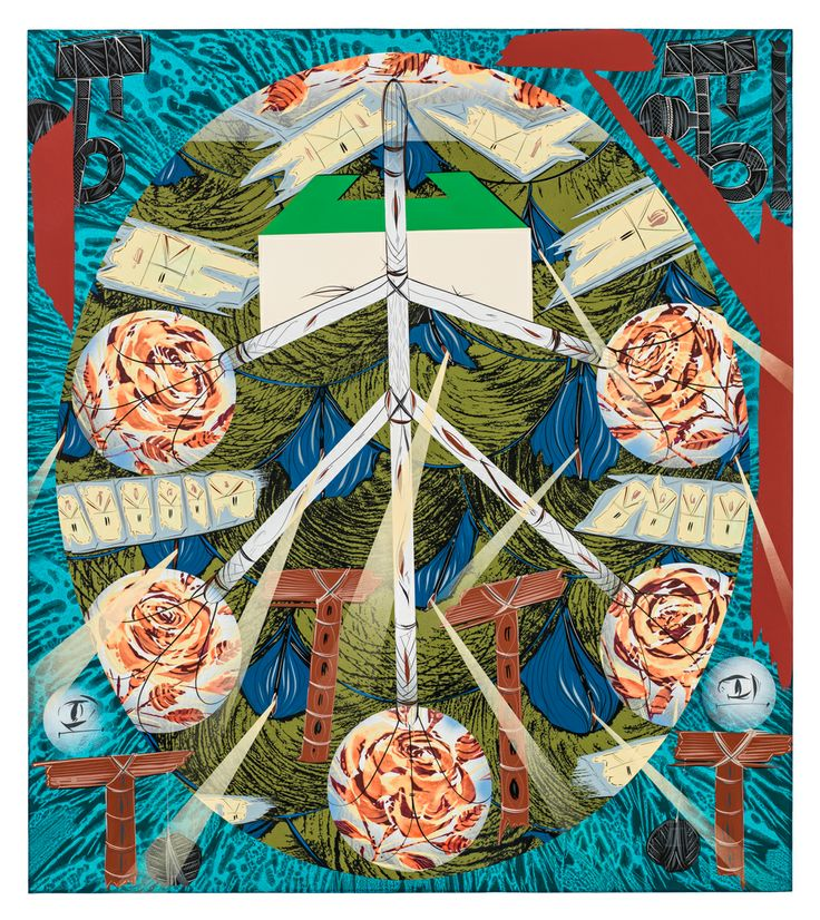 Bernier/Eliades Gallery | Lari Pittman | Untitled #1, 2013 |Cel-vinyl, spray enamel on prepared panel |137 x 122 cm | Photo by Fredric Nilsen