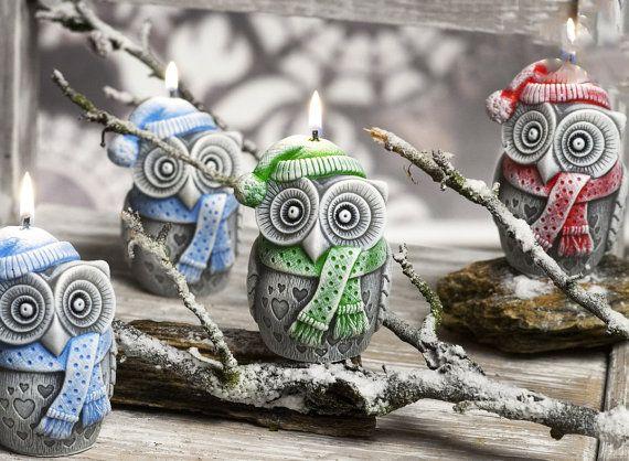 Candele di inverno dei gufi 4 pollici regali di di MonnaEtsyShop