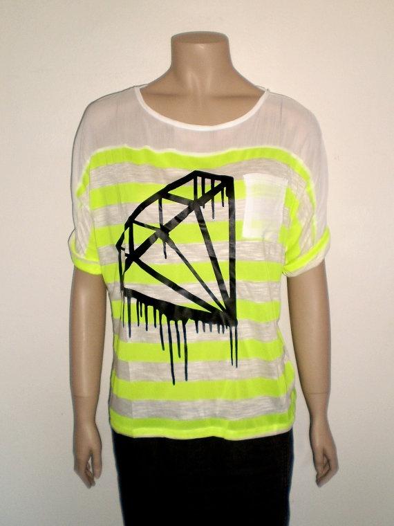 Neon yellow black diamond t shirt
