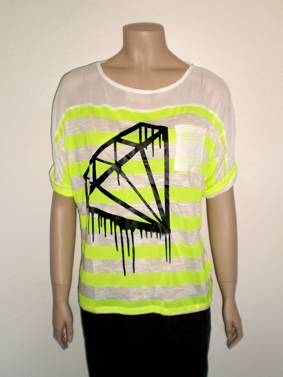 Neon yellow black diamond t shirt