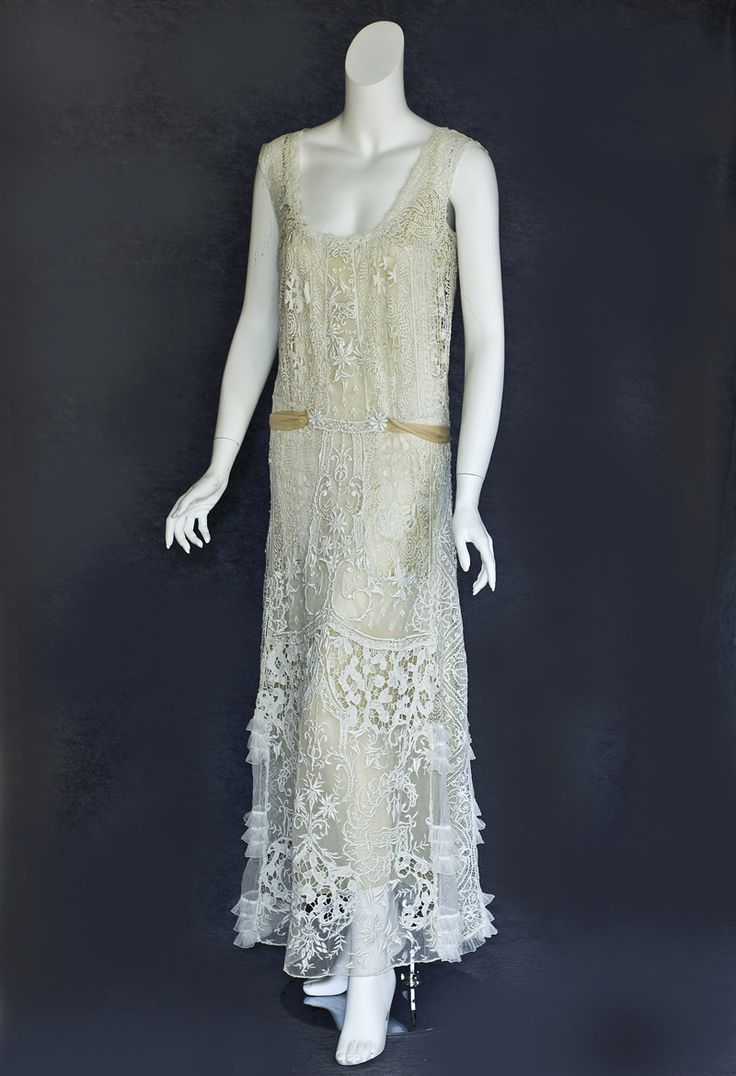 Fashion 1910 to 1920 - Mixed Lace Tea Dress Hand Embroidered Tulle Panels With A Medley Of Hand Assembled