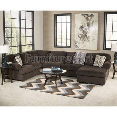Jessa Place Chocolate Sectional Living Room Set