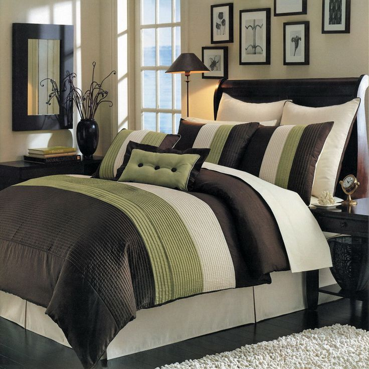 8pc modern color block green brown comforter set