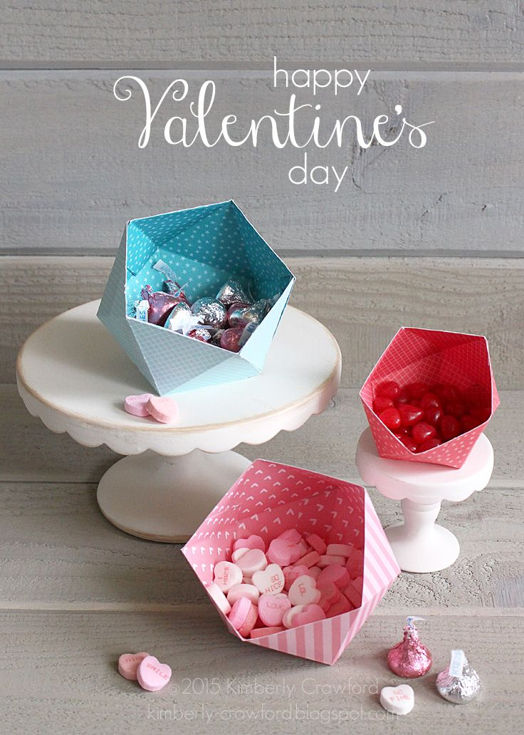Happy Valentines Day Geometric Candy Holders Candy