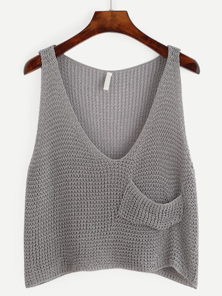 Grey Knit Crop Tank Top With Front Pocket -SheIn(Sheinside)