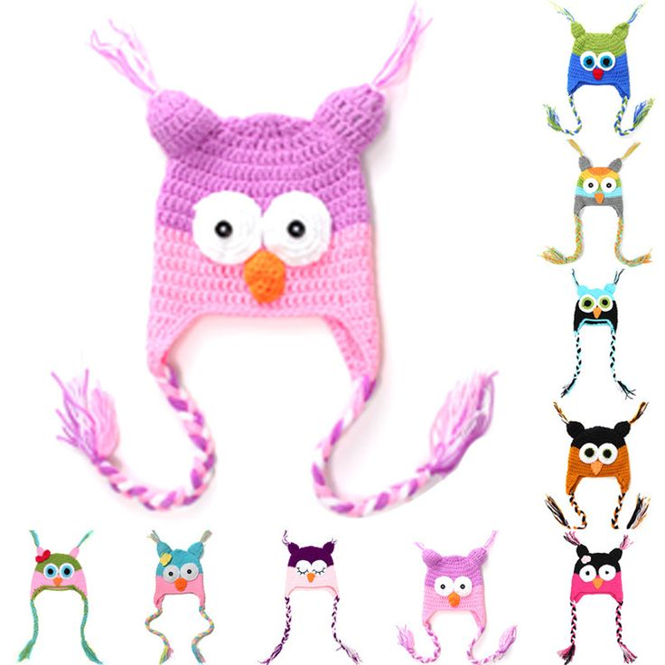 Cute Cartoon Infant Toddler Handmade Knitted Crochet Baby Owl Hat with Ear Flap Baby Soft Bonnet Photography Props Animal Caps