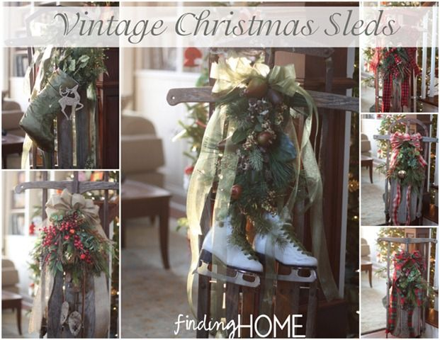 Vintage Christmas Sleds, Vintage Christmas Windows from Finding Home