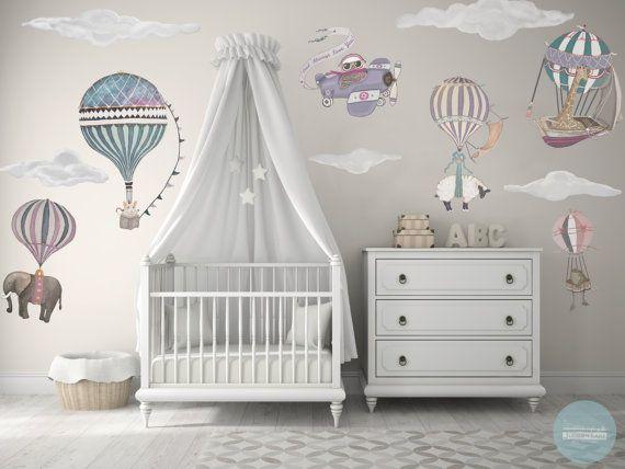 Medium Girl Set, 7 Heißluftballontiere & 9 Wolken, Eule, Kindergarten, Baby, handgemalt, Reposition, Stoff Wandtattoos, Designer