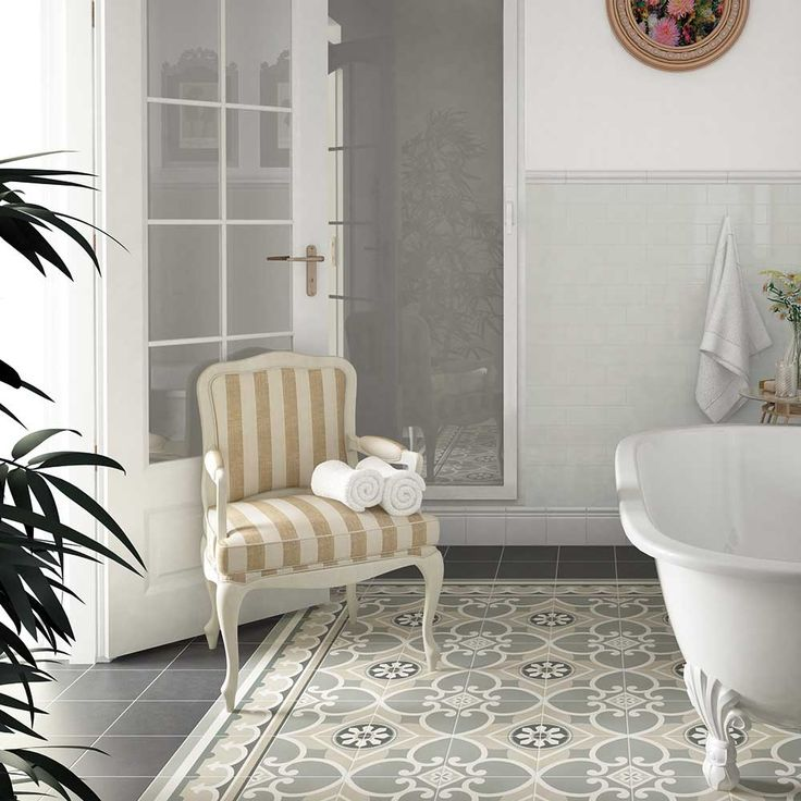 Decorative Victorian floor tiles in a period bathroom setting #period #Victorian