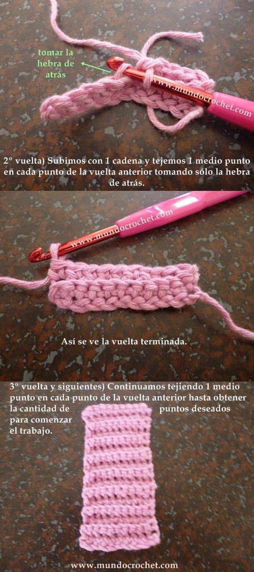 Como tejer el punto elastico en medio punto a crochet o ganchillo paso a paso