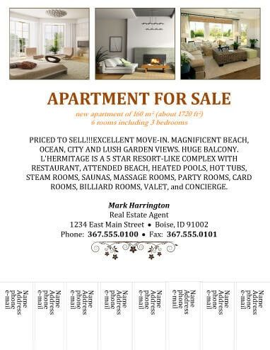 Apartment for sale tear-off Real Estate Flyer