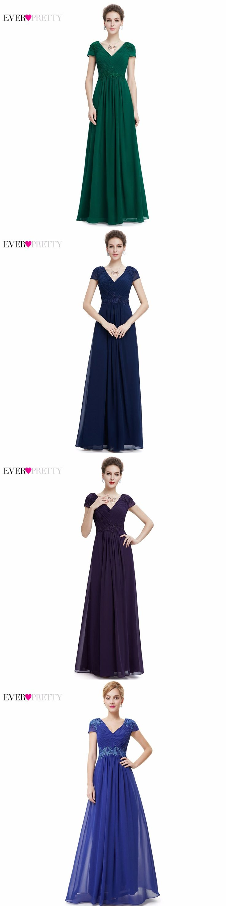 [Clearance Sale] Prom Dresses 2017 Ever Pretty HE08467SB Women Sexy V-Neck Ruched Empire Appliques Long Blue Prom Dresses