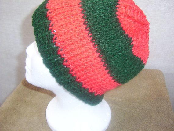 Hand Crocheted Dark Green and Coral Stripe Tunisian by Gifts4u2, $16.00