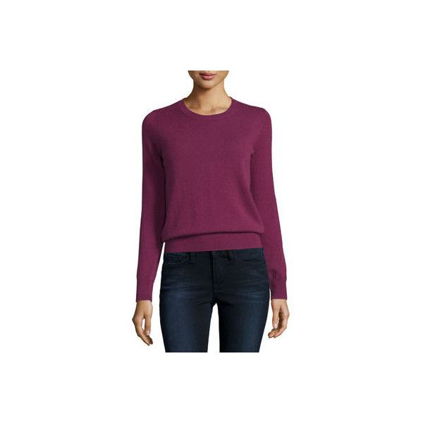 Neiman Marcus Cashmere Collection Long-Sleeve Crewneck Cashmere... (445 ILS) ❤ liked on Polyvore featuring plus size women's fashion, plus size clothing, plus size tops, plus size sweaters, berry, sweater pullover, crew neck pullover, pure cashmere sweaters, long sleeve tops and cashmere crewneck sweater