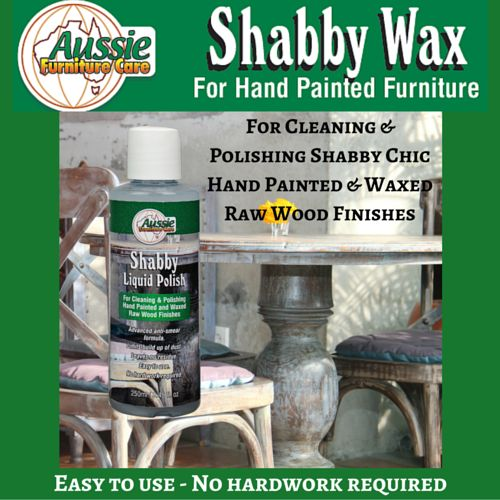 Shabby Liquid Polish 250ml For polishing, cleaning and maintaining shabby chic furniture, hand painted furniture and waxed raw wood finishes. Dries and seals as soon as it's buffed. Leaves a natural and long lasting sheen. Protects against water marking. Easy to apply and easy to buff. Advanced anti-smear free formula. Limits the build up of dust. Leaves no residue. Excellent for use after applying an initial sealing coat of Shabby Wax Paste. Made from Pure Australian Beeswax