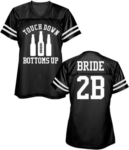 Football Bachelorette Party Mesh Jersey for the Bride. Sports bachelorette parties are very trendy. Make a football jersey for a football bachelorette party this year. Get one for the bride, bridesmaids and maid of honor. TOUCHDOWN!