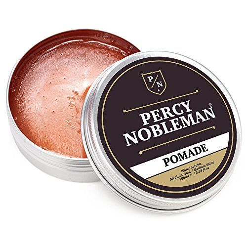 Pomade By Percy Nobleman 3.4 Ounce, A British Made Water Based Pomade  Achieve the Classic Slick Back Look  100ml Tin That Lasts and Lasts - Paraben Free Pomade  Medium Shine with Effortless Hold  Water Based, Washes out with Ease  Pomade that Lasts all Day, and Doesn't Crisp