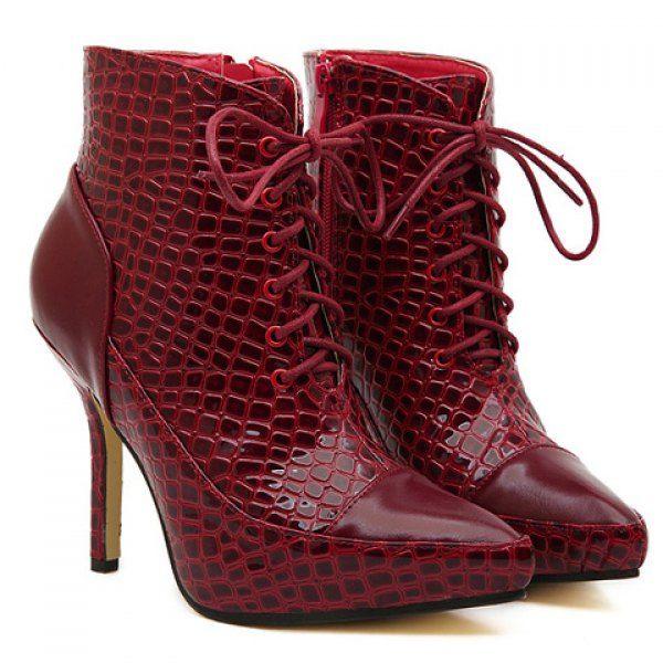 Stylish Crocodile Print and Pointed Toe Design Women's Stiletto Short Boots