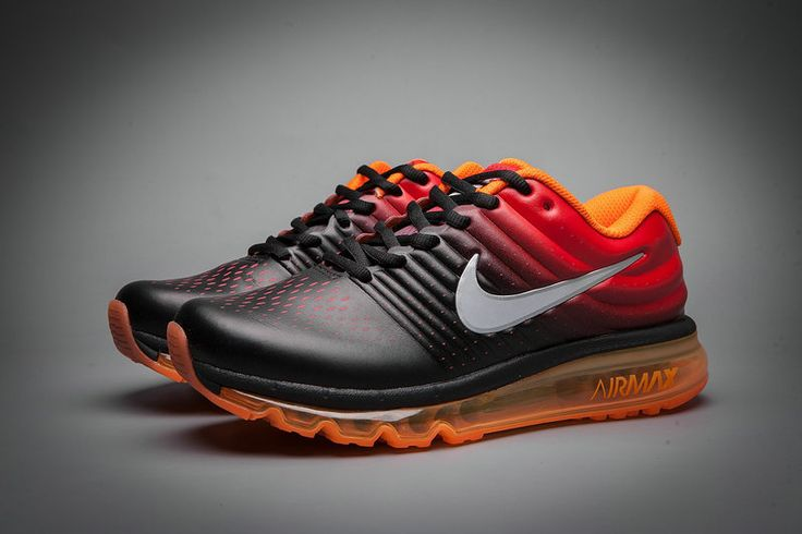 Leather Nike Air Max 2017 Gradual Change Orange Black White Tick Running Men Women
