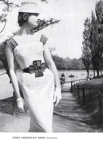 Christian Dior Fashion Magazine Ad. From a vintage L'Officiel magazine dated June 1956.