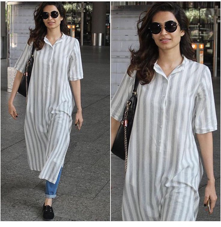 Karishma# casual travel look # long kurta # denim Look #