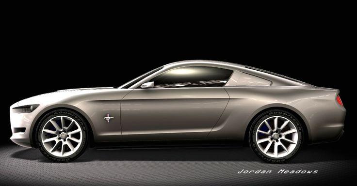 """O vinco em forma de """"taco de hóquei"""", na base da lateral e ascendendo perto da caixa de roda traseira, também apareceu nos esboços, mas logo os executivos da Ford decidiriam pela sua exclusão do Mustang 2015"""