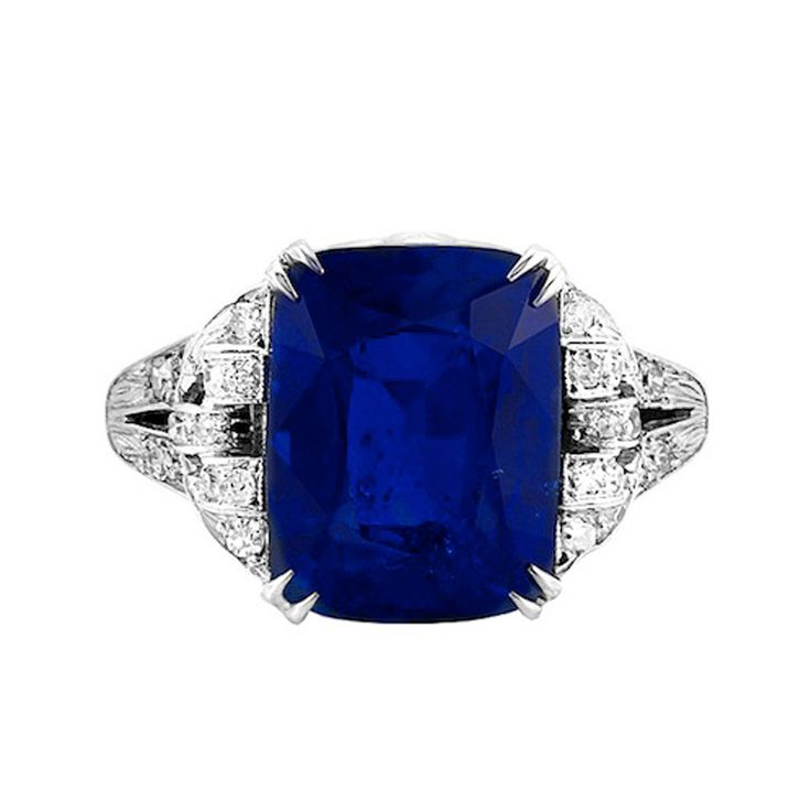 Art Deco Ceylon Blue Sapphire Diamond Ring | From a unique collection of vintage engagement rings at http://www.1stdibs.com/jewelry/rings/engagement-rings/