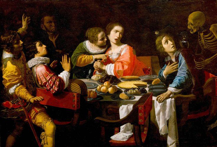 La morte appare durante un banchetto, o La Vanità dei beni terreni  (Giovanni Martinelli ca.1635)