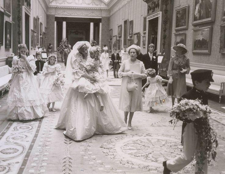 Princess Diana carries Hambro alongside Queen Elizabeth; Princess Margaret's daughter, Sarah Armstrong Jones, walks behind them.   - HarpersBAZAAR.com