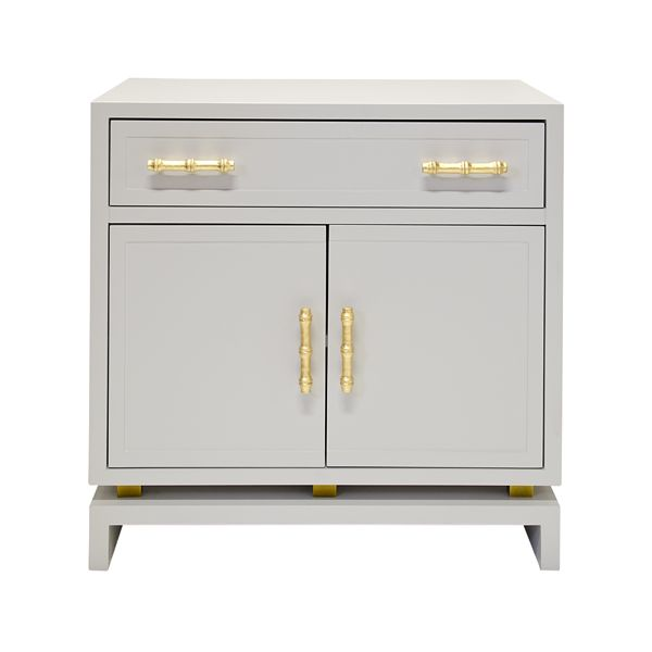 MARCUS GRY - MATTE GRAY LACQUER (1) DRAWER, 2 - DOOR NIGHTSTAND WITH GOLD LEAFED BAMBOO HARDWARE AND GOLD LEAF DETAIL ON BASE. DRAWER ON GLIDES.  NON ADJUSTABLE SHELF IN MIDDLE OF INTERIOR.