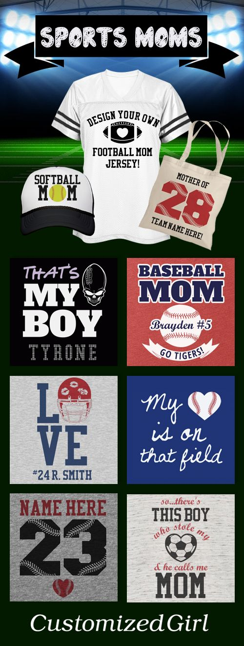 Custom Sports Mom Shirts To Support Your Favorite Player. Great gift idea for Mother's Day!