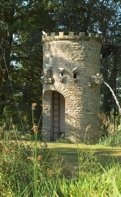 Stone Tower at Westonbury Mill Water Gardens, near Pembridge, Herefordshire