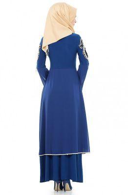 Bürün Güpürlü Elbise-Saks 8392-47