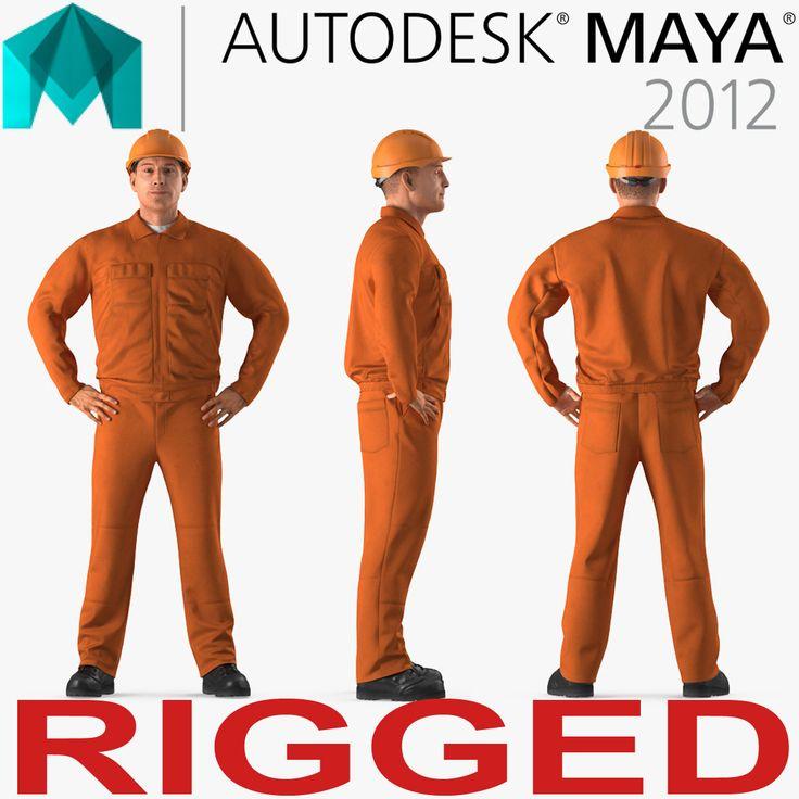 3D Builder Wearing Orange Coveralls Rigged for Maya model