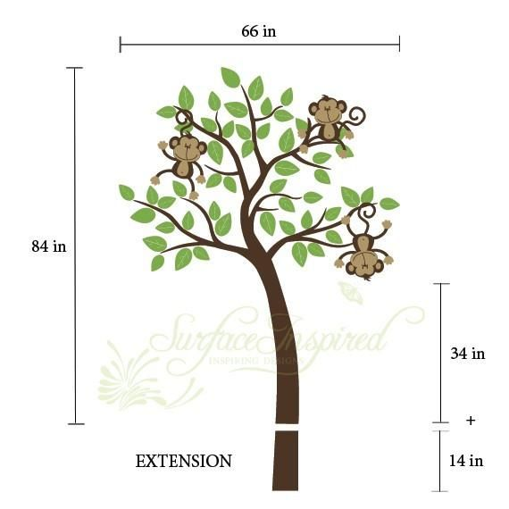 Nursery Wall Decals Monkeys Jumping On A Tree Vinyl Decal