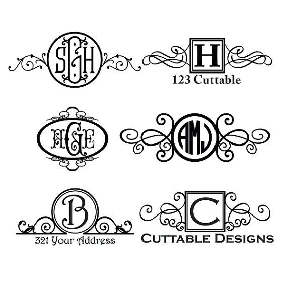 Mail Mailbox Monogram Designs Svg Cuttable Pack  for Silhouette Cameo and Cricut Explore machines.  Six file formats: JPEG, PDF, EPS, DXF and SVG,