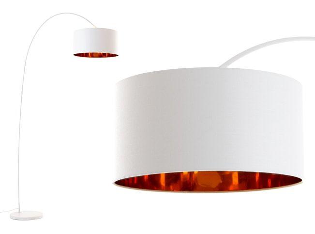 Sweep staande lamp, matwit en koper