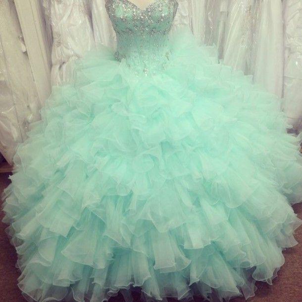 Dress: aqua, turquoise, ruffle, sweetheart dress, sweet 16 dresses, quinceanera dress, bedazzled, sweetheart neckline, puffy dress, puffy, poofy dress, poofy - Wheretoget
