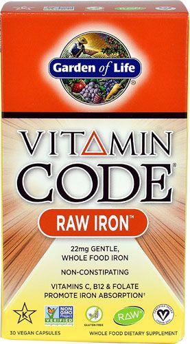 Garden of Life Vitamin Code® RAW IRON™ -- 22 mg - 30 Vegan Capsules - Vitacost