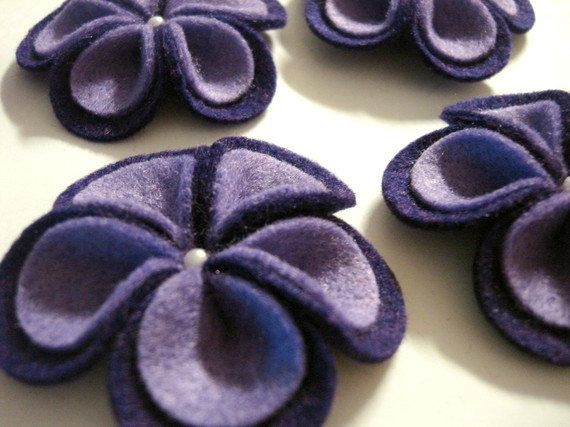 Set of 12pcs handmade felt with pearl purple PW by CocoBella84, $6.95