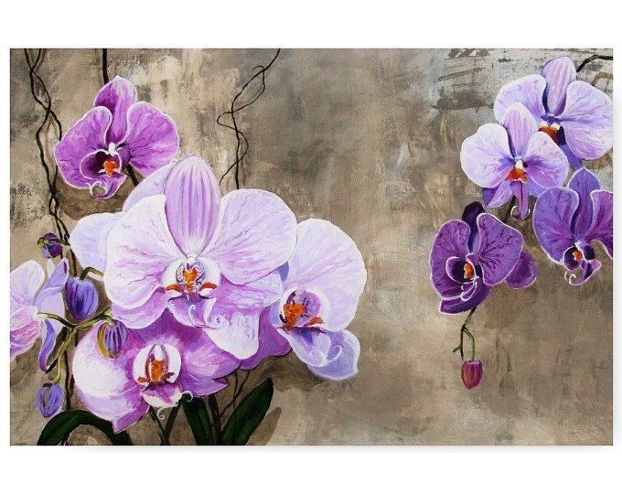 Mazzo di orchidee Flower Blossom saggezza viola atmosfera asiatica Zen, illustrazione originale artista stampa arte della parete, spedizione gratuita negli Stati UNITI.
