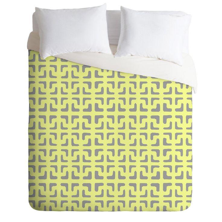 Hadley Hutton Lattice Pieces Yellow Duvet Cover | DENY Designs Home Accessories