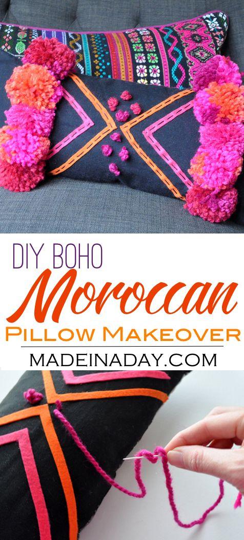 DIY Boho Pink Pom Moroccan Pillow,Makeover a cute lumbar pillow using felt and pom poms! Bohemain, boho decor, moroccan decor, tribal print via @madeinaday