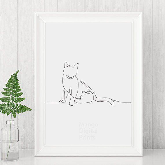 Cat print, cat art, cat lover gift, cat lineart, abstract art, line art, black and white art, black and white prints, cat line drawing – Margarete Pieper