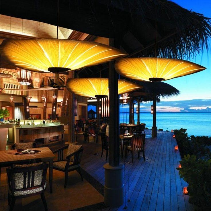Bamboo Style Chinese 90cm Wooden Living Room Dining Room Restaurant Lighting #ShiningLight #ArtDeco