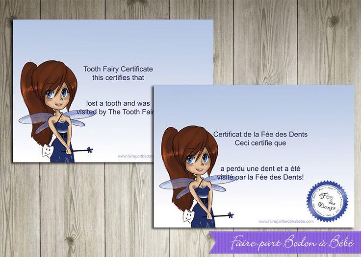 Certificat Fée des Dents - Imprimable -  Français et Anglais by FairePartBedonaBebe on Etsy